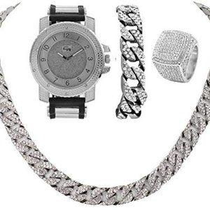 Mens Cuban Chain Bracelet, Cuban Necklace & Ring